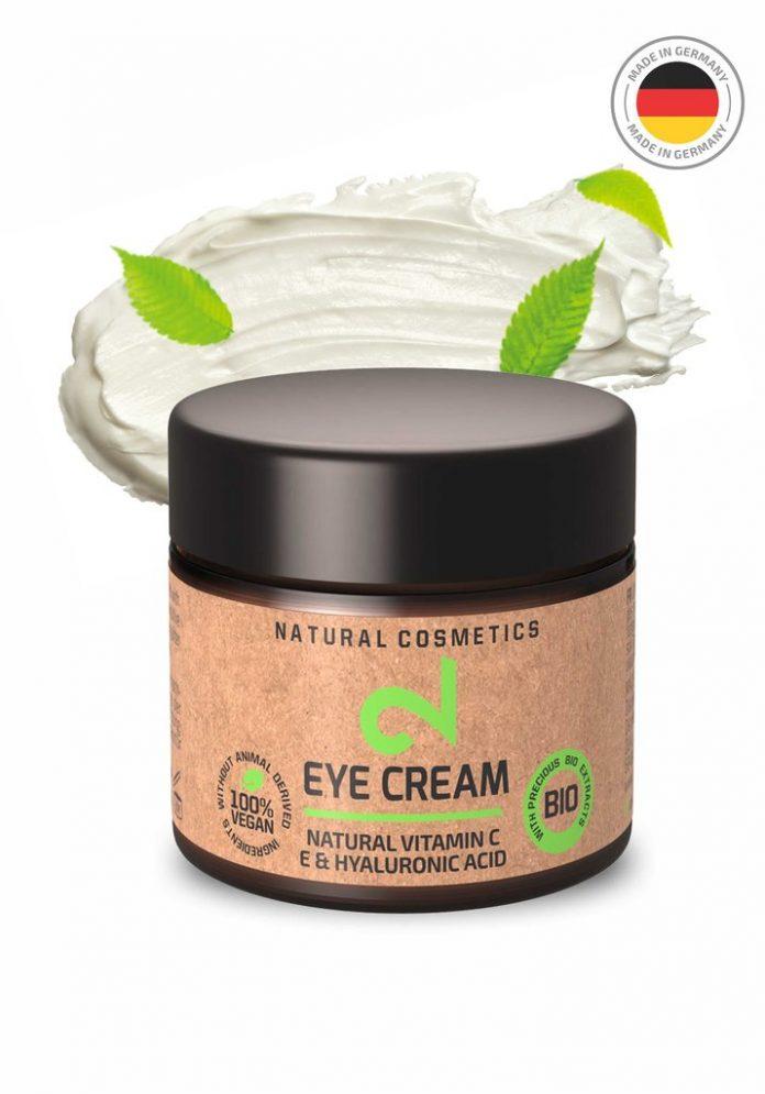 DUAL Eye Cream Crème Contour Yeux 100 Naturelle FemmesHommesVitamine C Source d'Acide Hyaluronique Microalgues Brocolis Anti-Âge Anti-Ride Anti-Cerne Végétalien Fabriquée en Allemagne BIO