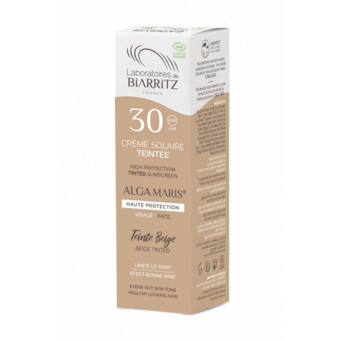 Laboratoires de Biarritz - Crème Solaire Visage Teintée Dorée - SPF50 - ALGA MARIS® Certifiée Bio test et avis
